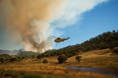 GoAltaCA | A helicopter prepares to drop water on the Rocky fire near Clearlake Oaks. 8/3/15 Photo: EPA/Noah Berger
