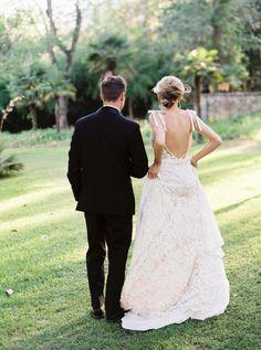 Wedding Dress: Inbal Dror - http://www.stylemepretty.com/portfolio/inbal-dror-3 Photography: Lucy Cuneo Photography - http://www.stylemepretty.com/portfolio/lucy-cuneo-photography Read More on SMP: http://www.stylemepretty.com/2015/06/15/romantic-charleston-elopement-inspiration-at-middleton-place/