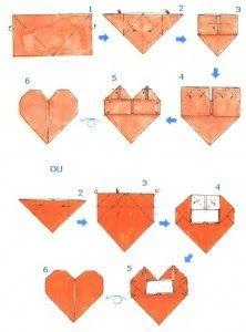 ♥ Marcador de paginas em formato de coração de origami !
