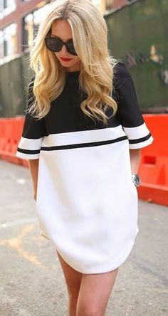Black-White Patchwork Zipper Elbow Sleeve Slim Caual Dress