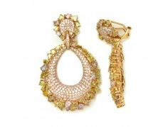 9.60 ctw Diamond & 4.21 ctw Diamond 18K Rose Gold Dangle Earrings