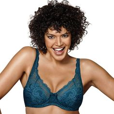 Plus Size Playtex Bras: Love My Curves Beautiful Lift Lightly Lined Full-Figure Underwire Bra US4514, Women's, Size: 44 D, Light Blue