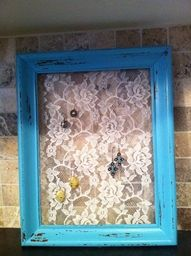 Distressed Picture Frame + Lace = Cute Earring Holder or Just a Pretty to Hang on the Wall