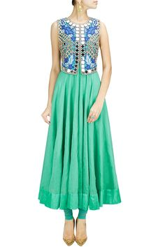Ice blue anarkali set with mirror work falisa vest BY ARPITA MEHTA.