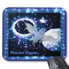 Shop Starry Night Pegasus Mouse Pad created by BlueRose_Design. Custom Mouse Pads, Custom Greeting Cards, Pegasus, Thoughtful Gifts, Projects To Try, Fantasy, Celestial, Night, Image