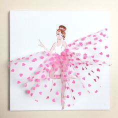 This charming little ballerina in a beautiful pink tutu will add a touch of glamour to your babys room. Original acrylic painting with tulle tutu on a 12x12 inches canvas, ideal gift for baby shower, birthday, christmas, etc. Custom orders are always welcome!!!! How you can customize: