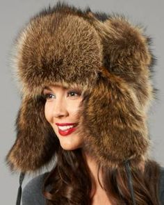 Womens Raccoon Full Fur Russian Hat