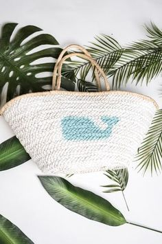 Don't Krill My Vibe Whale Print Straw Tote Bag (White)