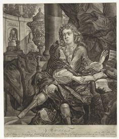 Arnoud van Halen | Jonge man met muziekinstrumenten, Arnoud van Halen, 1683 - 1732 | Een jonge man zit aan een tafel waarop muziekboeken, een viool en een fluit. Op de achtergrond een siertuin met een fontein. In de marge een vers over vrolijke muziek.