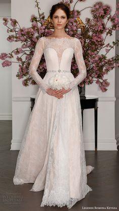 legends romona keveza bridal spring 2017 illusion long sleeve boat neck aline lace wedding dress (l7127) mv blush color