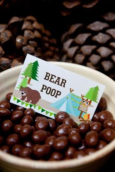 Bear Poop Camping Party Food Labels from SunshineParties on Etsy... https://www.etsy.com/listing/195651457/camping-tent-party-full-printable-set?ref=cat_gallery_19&ga_ref=search_shop_redirect&ga_search_type=all&ga_view_type=gallery More