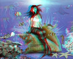 mermaid on a shell - anaglyph by mudukrull