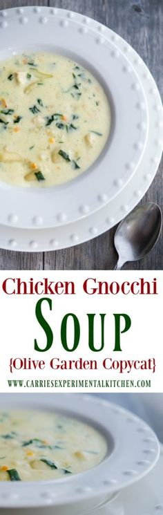 Enjoy one or your favorite restaurant copycat soups at home with my version of Olive Garden's Chicken Gnocchi Soup made with boneless cooked chicken, vegetables and gnocchi in a creamy chicken broth. Olive Garden Chicken Gnocchi, Chicken Gnocchi Soup, Chicken Soup Recipes, Chicken Pasta, Gnocchi Pasta, Chicken Garden, Gnocchi Recipes, Noodle Recipes, Turkey Recipes