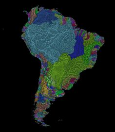 river basin map of south america South America Continent, South America Map, Latin America, Visual Map, Les Continents, World Geography, Map Art, Rainbow Colors, Traveling By Yourself