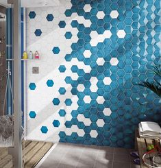 Electric Blue with effect in combination with white, Hexagonal tiles for amazing bathroom design. Hexagon Tile Bathroom, Hexagon Tiles, Bathroom Layout, Bathroom Interior Design, Tile Layout, Bathroom Wall, Mosaic Tiles, Master Bathroom, Bathroom Ideas