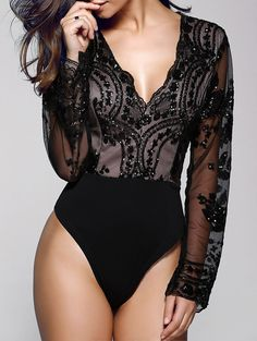 Only $20.46 for Floral Sequined Plunging Neck Long Sleeve Bodysuit BLACK: Rompers | ZAFUL