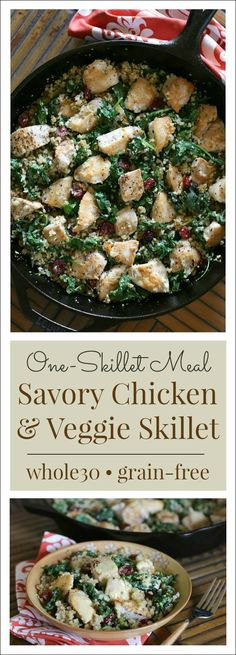 One-Skillet Savory Chicken & Veggies {Whole30} - Quick one-skillet meals like this one make it a whole lot easier to stay on track for a healthy dinner!{and delicious Whole30!}