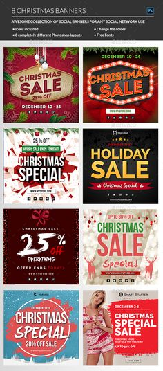 Christmas Banners — Photoshop PSD #banner promotion #instragram promo • Download ➝ https://graphicriver.net/item/christmas-banners/18997012?ref=pxcr