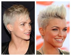 Short cut worn two different ways. I love Ruby Rose's hair!