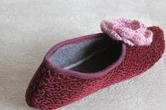 SALE New Product - Women Home Slippers, Velvet slippers, Size 6, Flower embroidered, crochet floral, Burgundy slippersred flower