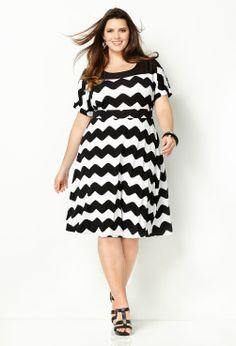 Abstract Chevron Dress-Plus Size Dress-Avenue