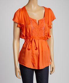 Look at this #zulilyfind! Orange Embroidered Angel-Sleeve Top #zulilyfinds