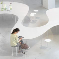 """The Rotterdam-based architectural practice Studio Maks presented during Milan Design Week a new """"Table Architecture"""" project: the Cloud Table. Ard Buffet, Interior Architecture, Interior Design, Co Working, Milan Design, Learning Spaces, Office Interiors, Furniture Design, Library Furniture"""