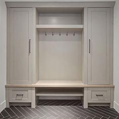 Grey Mudroom Cabinet. Grey Mudroom Cabinet and herringbone tile. Grey Mudroom…