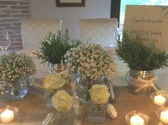 Centrotavola Sposi - matrimonio Erbe Aromatiche e Gypsophila // wedding planner e designer: Un Giorno su Misura