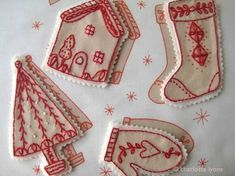 red on white felt ornaments
