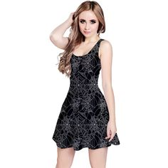 6a63eb9f66cb2 CowCow Womens Halloween Spider Web Pattern Sleeveless Skater Dress at  Amazon Women's Clothing store: Web