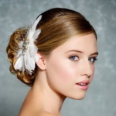 Ivory Bridal Hair accessory Feather Fascinator by GildedShadows, $58.00