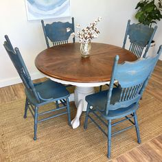 Round Table and Chairs  Farmhouse Furniture  Blue Dining