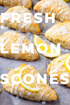 Learn the process of how to make lemon scones that are soft, fluffy, and moist! These lemon scones are tender and flavorful and topped with a tangy lemon glaze! Lemon Dessert Recipes, Lemon Recipes, Brunch Recipes, Sweet Recipes, Scone Recipes, Lemon Scones, Savory Scones, Baking Science, Pastry And Bakery