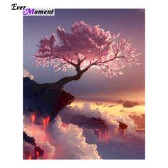 Полный алмазов вышивка пейзаж Розовое Дерево Живописные 5d алмазов картина вышивки крестом diy алмаз живопись пейзаж ASF008(China (Mainland))