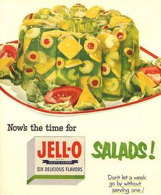 Molded jello salads, one of the most revolting American food trends of the 50s & 60's, hopefully it never comes back in style.