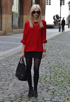 red sweater black skirt
