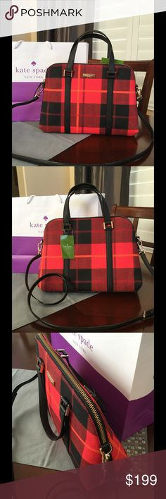 "NWT KATE SPADE SMALL RACHELLE Kate Spade Small Rachelle  Newbury Lane Collection  Plaidred   Zip top closure. Inside zip pocket and 2 slip pockets. Top handles have 4"" drop, Crossbody strap is adjustable 18"" to 22"" Approximately 9.5""H X 13""L X 4.5 W  Smoke/pet free home kate spade Bags Satchels"