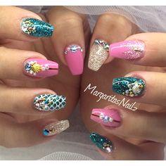 Mermaid Nails by Margaritanails via @nailartgallery #nailartgallery #nailart #nails #gel #geldesign #gelart #mermaid #gelnails