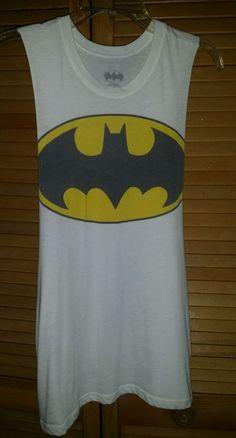 Batman Logo Graphic White Tank Top T-Shirt Raglan Sleeveless Womens Medium #Batman #GraphicTee