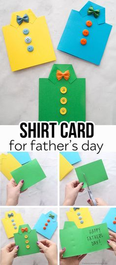 Father's Day Shirt Card 👔 - this easy DIY Father's day card is perfect for kids of all ages to make! An easy Father's Day craft for kids. Great for preschool or kindergarten too!