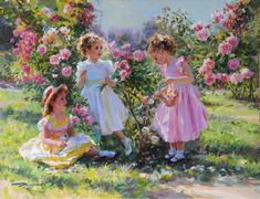 """""""Three Young Girls in the Rose Garden"""", Picking Flowers, Oil on Canvas, Signed in Cyrillic, Russian Painting, European Paintings, Winter Pictures, Painting For Kids, He's Beautiful, Green Leather, Beautiful Paintings, Vintage Posters, Color Inspiration"""