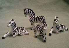 4-miniature Zebra Figurines