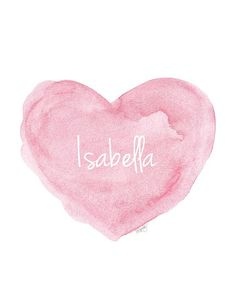 Pink Nursery Art 11x14 Personalized Name Watercolor Heart Newborn Girl Shabby Chic Style Nursery Design Shower Gift Custom Name New Baby
