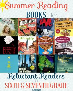 Summer Reading Book list for reluctant readers aka kids who don' tlike to read. T his book list gives several great books for hard to please readers, both girls and boyg, and the book is broken down by reader. The students, girls/boys/reluctant readers, 6th and 7th grade, will enjoy this book immensely. Alohamora Open a Book. http://www.alohamoraopenabook.blogspot.com/ non-fiction, humour, adventure, action, fairy tales, love,