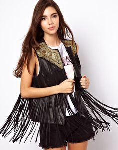 ASOS Fringed Leather Gilet With Embroidery Asos