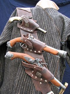Pirate 3 Pistol Baldric in Chocolate water Buffalo - Rgrips.com
