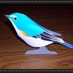 Bird Papercraft – Red-flanked Bluetail (Tarsiger Cyanurus, Ruribitaki)