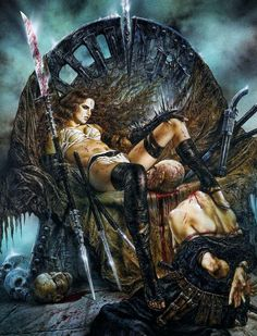 f Barbarian Princess CE Reaper of the Red minion Bardiche skulls & severed head wilderness story throne