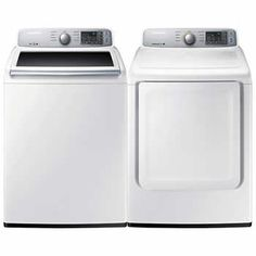 Samsung 2 Piece Laundry Suite | Top-Load 5.2 cu.ft. Washer with Vibration Reduction Technology and 7.4 cu.ft Dryer with Sensor Dry Technology - White